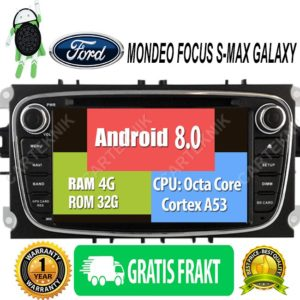 ANDROID 8.0 FORD MONDEO FOCUS S-MAX GALAXY BILSTEREO