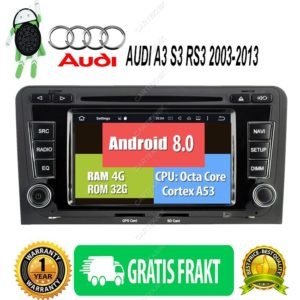 Android 8.0  AUDI A3, S3, RS3 2003-2013