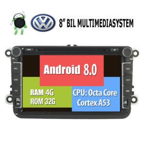 8″ VW Android 8.0 till VW TIGUAN TOURAN JETTA SKODA