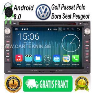 7″ Android 8.0 Bilstereo GPS DVD DAB+ 4G till VW Golf Passat Polo Bora Seat Peugeot