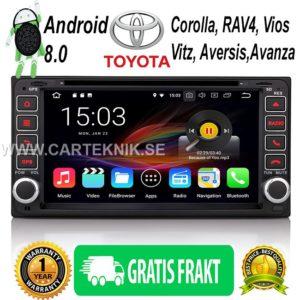 Android 8.0 Bilstereo GPS DAB+ 4G till Toyota Corolla RAV4 Vios Hilux Avanza