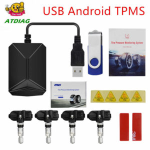 What is TPMS?  TPMS stands for tire pressure monitoring system. As its name suggests, a tire pressure monitoring system is more than a single part. In fact, TPMS involves a valve and a sensor, and it's also important to know that not all TPMS systems are created equal.There are two kinds of TPMS technology–indirect and direct. Indirect TPMS approximates tire pressure indirectly by using data from the vehicle's antilock brake system (ABS).  Direct TPMS is a warning system that warns a vehicle's operator of an unsafe change in the air pressure in one or more of the tires. Readings are provided by pressure sensing transmitters mounted inside each tire and sent to a central computer (ECU) for display on the dashboard. A warning indicator light on the instrument panel and an audible warning notify the driver if a 25% drop in pressure occurs.  How Does TPMS Work?  With both direct and indirect TPMS, if a tire is detected to be underinflated by 25% or more, an alert lights up on your dashboard. But with direct TPMS, drivers are alerted sooner and if the car is equipped with the four-tire TPMS display–can even see readings for each tire. One of the largest downsides of an indirect TPMS system is that it cannot detect when all four tires are low in pressure, which can happen quite frequently if tire pressure is not checked on a regular basis.  To get a better understanding of how TPMS works and how it helps make driving safer. You can learn more about direct vs indirect systems here.  Specifications:  – Working Voltage: 2.1V~3.5V – Working Temperature: -40°C~ +80°C – Storage Temperature : -40°C~ +85°C – Pressure measurement range: 0~8 bar(0~116 psi) – Pressure accuracy: ± 1.5 psi (±0.1bar) – Temperature sensitivity: ±3℃ – Transmission frequency: 433.92MHz – Material: Plastic – Color: Black – Size: 87mm * 55mm * 13mm – Sensor: Diameter 30mm, Height 10mm – Weight: 415g – Battery life: ≥5 Years (4pcs Lithium batteries built-in the 4 sensors) (Lithium Battery replacable, Model n